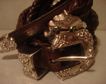 Vintage Dark Brown Detailed Double Braided Ornate Buckle Belt