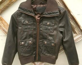 Boys VINTAGE faux leather brown bomber jacket for little boys, aviator bomber jacket for boys, boys retro clothing  size 7-8