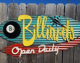 Billiards Mid-Century Retro Painted Flat Metal/ Vintage Corrugated Barn Tin/ Pool Hall/ Eight Ball/ Bar/ Sign