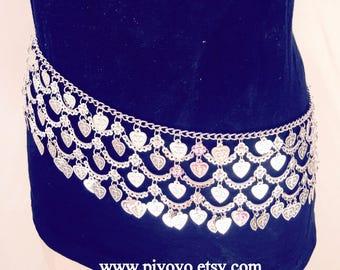 Silver boho body chain jewellery, Hip chain, Popular beach Jewelry,  boho hip belt jewelry, belly chain, gift guide, music festival belt