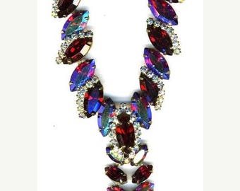 15% DISCOUNT Red and Red Aurora Borealis Necklace   Item No: 14923m