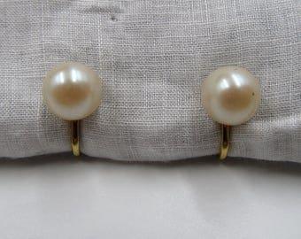 Vintage Faux Pearl Earrings, Vintage Pearl Screw Back Earrings, Vintage Pearl Jewelry, Wedding Pearl Earrings, Round Pearl Earrings 40