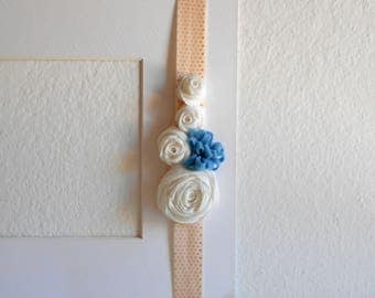 Baby elastic headbands with white rosettes