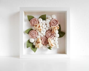 Fabric flowers bouquet in white Ikea Ribba frame