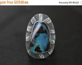 On Sale Australian Boulder Opal Ring, Statement Ring, Reticulated Silver Ring, Size 8.5 Ring