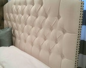 READY TO SHIP - Tufted upholstered headboard - wall mounted - king size - cream canvas