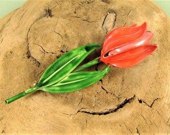 Mod Tulip Brooch - Vintage Original by Robert Red Enamel