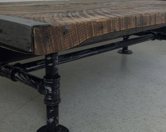 "Custom 16""× 36"" Lightly stained espresso Industrial Coffee Table, Old Barnwood, distressed pipe legs, Reclaimed, Character, Rustic"