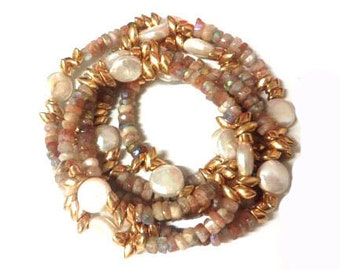 """Long Necklace/ Gorgeous Faceted Oregon Sunstone Rondells, Freshwater Pearls Beaded Chain/ Wrap Bracelet/38"""""""