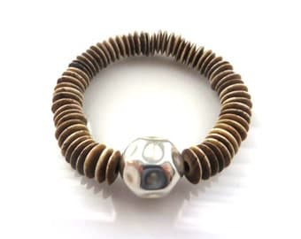 Organic Form Sterling Silver Ball And Light Brown Smooth Saucer/Disc Shaped Ox Bone Beads  Stretch Bracelet/Boho Chic Bracelet/Yoga Bracelet