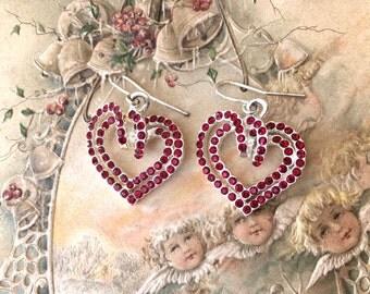 Pretty Little Valentine Rhinestone Heart Earrings