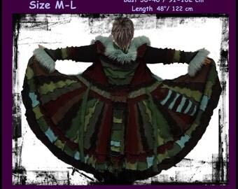 Elf coat, eLF sWEATER, fairy, dress, fairy dress, women hoodie, hippie, sweater coat, patchwork, boho, OOAK, dream coat, size M, size L