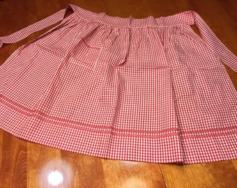 Vintage 1960's Red Gingham kitchen Apron with Red Cross Stitch design by MarlenesAttic