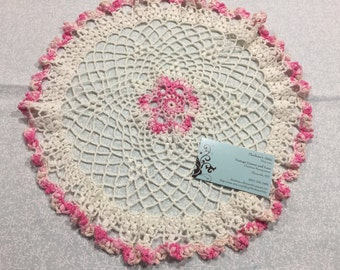 Vintage 14 inch round Pink and White hand crochet doily for crafts, shabby chic, housewares, linen, trim, valentines, by MarlenesAttic