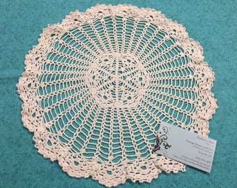 Vintage 13 inch Off White crochet doily for housewares, home decor, pillows, crafts, shabby chic, bags by MarlenesAttic