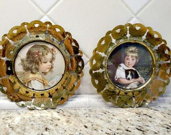 Vintage Pair of Victorian Girls Prints Round Filigree Brass Butterfly Frames Made in England Vtg Framed Pictures Adorable Children Dog Puppy