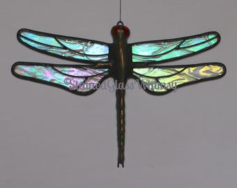 DRAGONFLY Suncatcher, Stained Glass Northern Lights, Clear Rainbow Iridescent, Hand-Cast Metal Body, Handmade Original, Iridescent Dragonfly
