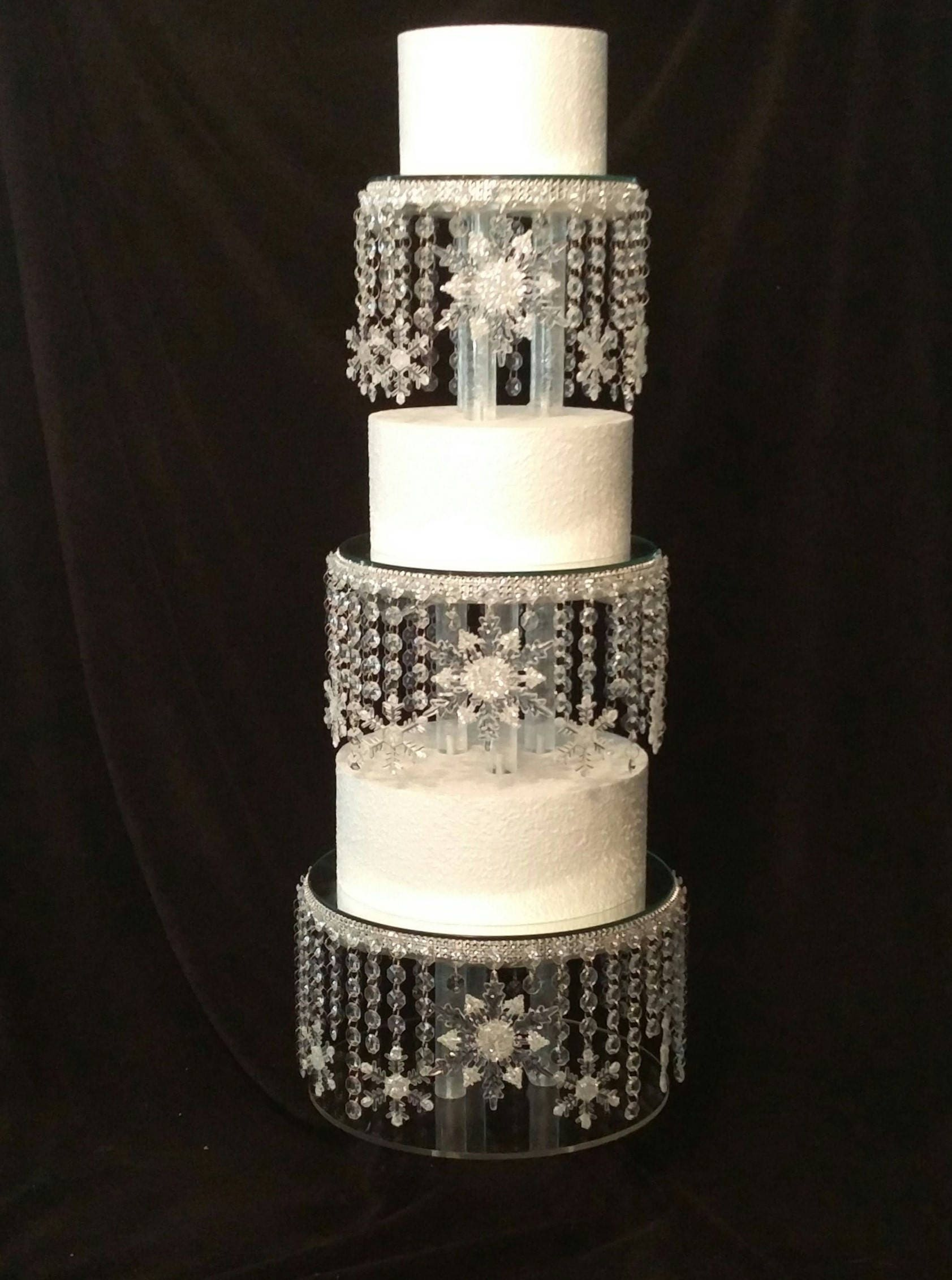 Crystal Snowflake Cake Stand Diamante cake stand for a Winter