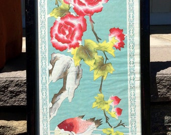 Chinese Painted Rice Paper Cut Out Hand-colored Birds Flowers Foliage