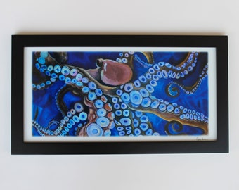 Octopus in the Deep Blue Sea  sea life art sea animal decor Panoramic Octopus art Print