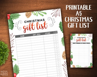 Printable A5 Christmas Gift List || digital download planner printable erin condren happy planner filofax organizer to do lists