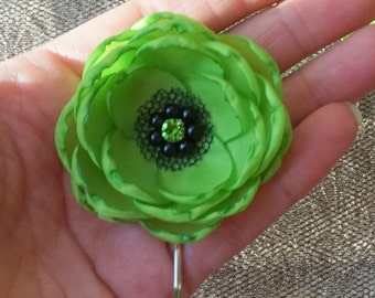 Chartreuse hair flowers, lime green fabric flowers, bridesmaids hair flowers, chartreuse and black shoe clips, wedding accessories hair clip