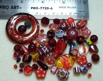 BEAD SOUP - Destash - Glass & Crystal - reds - variety - beads PG907