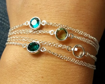 Silver Birthstone Bracelet. Swarovski Birthstone. Personalized Bracelet. Sterling Silver. Delicate Double Chain Bracelet. Birthday Gift