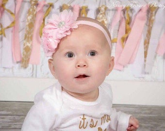 Baby girl headbands, Floral headband, Pink headband, chic headbands, christening headband, white headband, pink headband,  black headband
