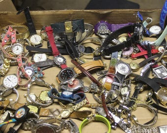 Watch Lot of 65 Destash Salvage Mixed Media Jewelry 5.2 Ibs Watches Repair