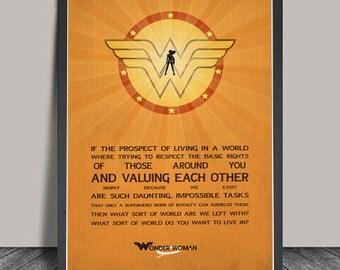 Wonder Women Poster.Wonder Women  Print Superheroes Minimalist Superhero Typography,Justice League ,Wall art,,DC Comic Gift,Hero Quote
