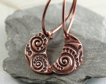 Celtic Copper Moons on Sleeper Hoops
