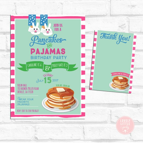 Two Children Pancakes & Pajamas Invitation kit, Dual Party Pancake Birthday, Pancake Breakfast, Invitation and thank  you card #2A