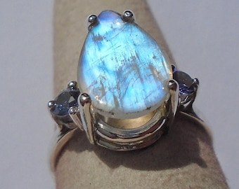 Rainbow Moonstone Sterling Silver Ring Size 5