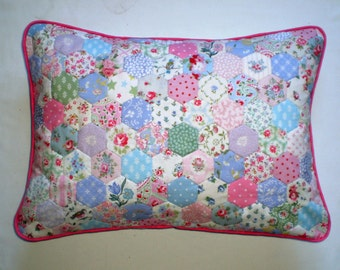 Patchwork Cushion - Hexagons - RARE Laura Ashley & Cath Kidston Fabrics