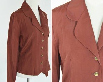 Vintage 1990's Secretary blouse - folded lapel button up blazer top - 90s does 40s style blouse - ladies size small