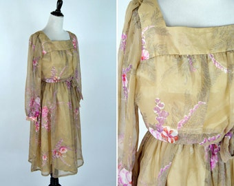 Vintage 1960's Tan and Pink Floral Chiffon Party Dress - Long Sleeve midi Dress with matching sash - ladies size medium to large