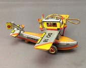 VTG Tin Seaplane Shylling Tin Toy Ornament 1995 NOS German Made Lithographed Tin Christmas Ornament in Box