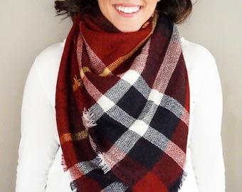 Maroon and Navy Plaid Comfy Blanket Scarf