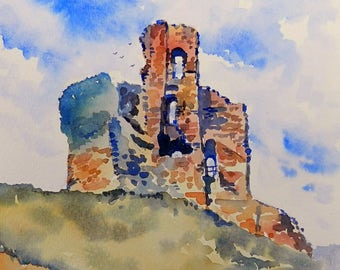 Corf Castle, print from an original watercolour painting by John Menage size A3 or A4