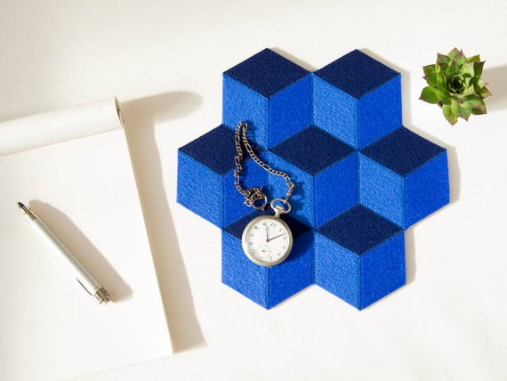 Small table mat / wool felt / blue mat / wool felt mat / stylish table mat / modern design / geometric table mat