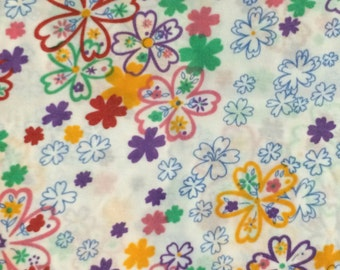 Floral  Fabric / Retro Floral Fabric / Artsy Flowers Fabric / Retro Fabric / Quilting Fabric / Polyester Fabric / By The Yard