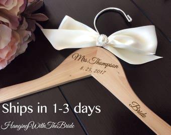 Wedding dress hanger, Wooden Engraved HangerCustom Bridal Hangers,Bridesmaids gift, Wedding hangers with names,Custom made hangers
