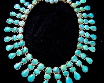 FEDERICO JIMENEZ~Outstanding~Cleopatra Style~Turquoise~Panel~925 Collar Necklace