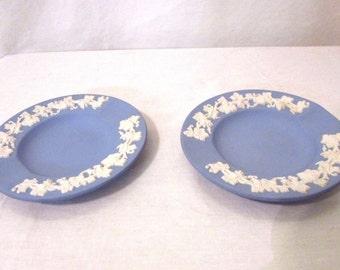 Vintage Wedgwood Jasperware Blue Ashtray With Grapevine Design set of 2