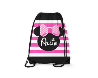 Personalized Drawstring Backpack - Disney Inspired - Personalized Kids Drawstring Bag