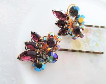 Repurposed/Upcycled Vintage Beau Jewels Earrings into Purple AB Rhinestone Flower Bobby Pins / Hair Pins / Hair Accessory / OOAK Art