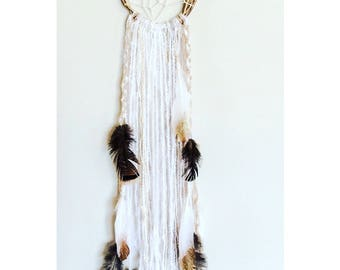 Goddess, Handmade Red Raven Dreamcatcher, gold, white, painted feathers, wild turkey feathers, gold painted willow hoop.