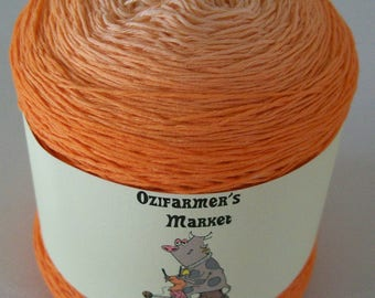 Cotton Lace.  Gradient hand-dyed  laceweight cotton. 100gm. Tangerine