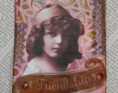 """ACEO ATC one-of-a-kind Original """"Friendship"""" Artist Trading Card"""